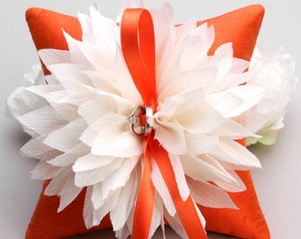 Orange ring pillow, flower ring bearer pillow, ring pillow wedding, bridal accessory - Lydia