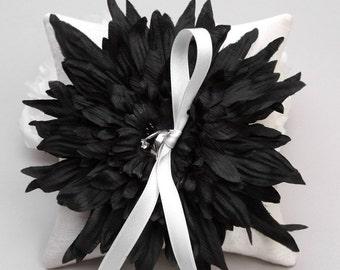 Black flower ring pillow, bridal ring bearer, ring holder, ring pillow wedding - Eveyln
