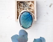 Blue petal necklace - Hydrangea - Blue and Mint - Bloom collection (N100)