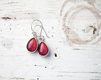 Red rose earrings - Silver Teardrop earrings - Red drop earrings - Ruby red silver earrings - Red earrings - Red flower earrings  (E125)