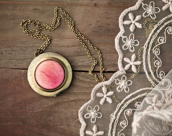Pink peony locket necklace - Round brass locket - Bloom collection by BeautySpot (L017)