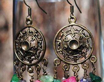 Brass & Gemstone Earrings