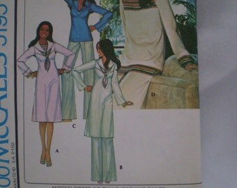 1976 Vintage McCall's Pattern 5195 Misses Dress or Tunic, Top and Pants Size 12