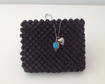 TURQUOISE and HEART LOCKET Charm Necklace