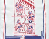 Vintage Linen Towel Red and Blue Flowers and Stripes