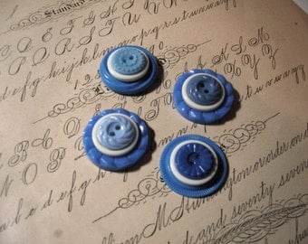 Button Magnet Set - 4 Blue and White Vintage Buttons