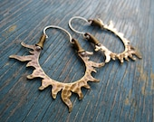 Solar Passion Hoop Earrings, Golden, Sun, Flames, Handmade Mixed Metal Jewelry