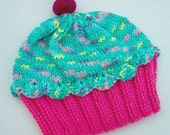 Handmade hand knit Cupcake Hat with Cherry on Top Raspberry Watermelon Cake Mint Sprinkle Frosting