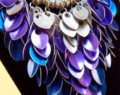 "Silver, Blue and Purple Statement Necklace Chainmail Scalemaille ""Water Elemental Leaves"" Stunning Necklace"