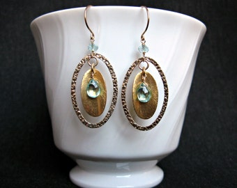 Apatite Aquamarine Earrings- Gold Filled