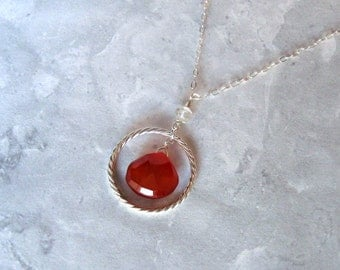 Red Chalcedony Necklace with Aquamarine in Silver