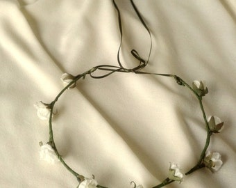 Silk flower crown minimalist cottage chic Wedding bridal party accessories ivory hair wreath spring flower girl halo ivory moss green