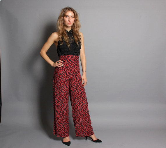 1980s PALAZZO PANTS / High Waist Red Floral Trousers, xs-s