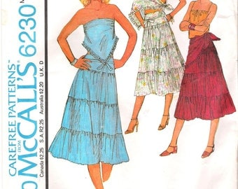 McCalls 6230 1970s Scarf Top Skirt and Scarf Sewing Pattern Large Tiered Skirt