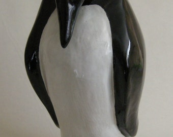 """SCULPTURE, PENGUIN POTTERY,Pottery Stoneware Clay titled """"Loves Warmth"""" Penguin SculptureStands 15 inches in height Free Shipping"""