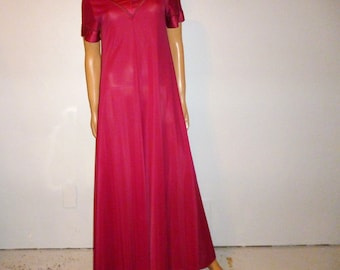 "Vintage 60s or 70s - La Voy's - Burgundy - Nylon - V-neck - Maxi - Flowing Nightgown - with Satin Trim - size Small - 34"" bust"