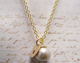 Pearl and Initial Necklace... Bride... Bridesmaid... Minimalist... custom personalized