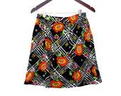 70s Short Gathered Skirt Bright Bold Floral Geometric Print, Homemade Short Skirt Pockets Multi Color Med 26 27 in. waist