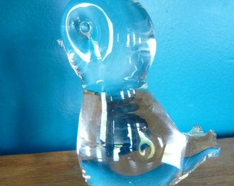 SALE - ZANE Solid Glass Chick Paperweight, Figurine, 4 Inches, Clear