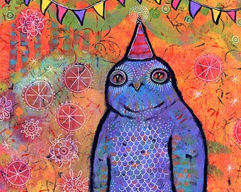 "Gallery Wrap Canvas Print 8""x8"" Whimsical Owl - It Was A Magical Night, Said Mr. Owl"