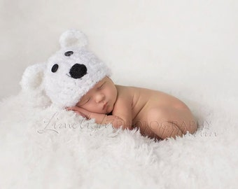 Cuddly Soft Polar Bear Hat - newborn or 0-3 mo baby boy or girl - made to order - photography prop