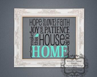 Large Hope (Love) Faith  Wall  Decal