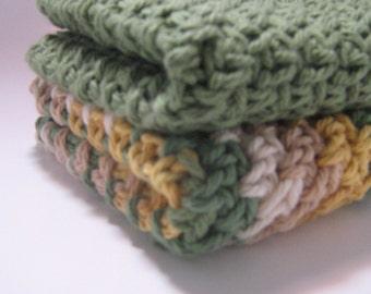 Green and Multi dish cloth