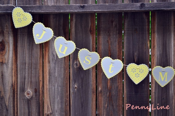 Yellow and Gray Wedding banner - Just Married - Yellow and Gray