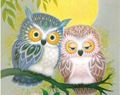 Owl Couple - K Chin Lithograph 1970s