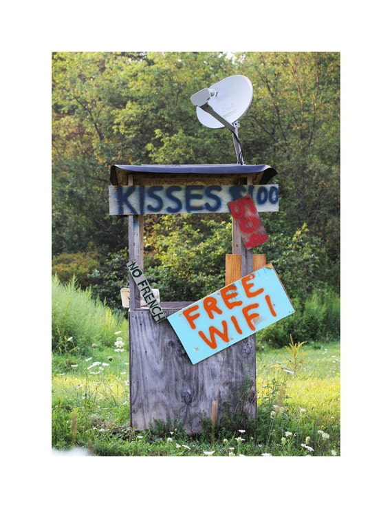 Kissing Booth Photograph, Redneck Decor, Rustic Home Decor, Humorous Art, Country Roads Art, Kitsch Photography, Pennsylvania Art, Free Wifi