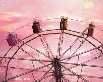 Pink Carnival Ferris Wheel Photography, Dreamy Pink Ferris Wheel Prints, Baby Girl Nursery Decor, Girl's Room Decor, Pink Ferris Wheel Photo
