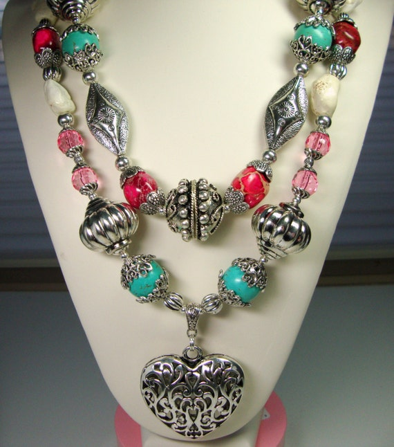 Heart of the Rodeo, Silver Pink Turquoise, CowGirl, Rodeo Star Necklace