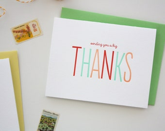 Letterpress Thank You Card - Sending a Big Thanks