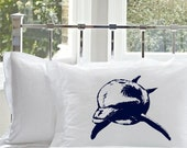 25% off Sale - Two Navy Blue Bottle Nose Dolphin White Nautical Pillowcases pillow cover ocean sea