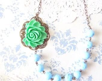 Vintage Beaded Flower Necklace - Blue Beaded Necklace - Green Flower Necklace - Large Flower Necklace