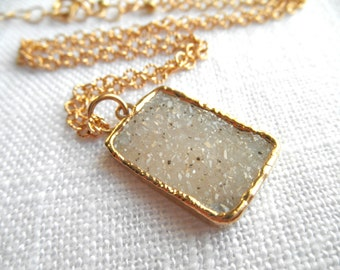 White druzy necklace - druzy necklace - gold necklace - druzy and gold - D R U Z Y 135