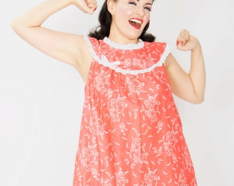 The Dottie babydoll - pink floral cotton lawn with white ruffle eyelet trim - 1950s 1960s inspired - free shipping