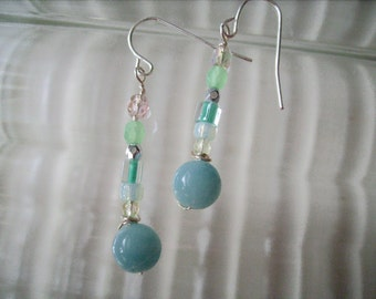 Drop Earrings, Amazonite, Soft Seafoam Green, Handmade