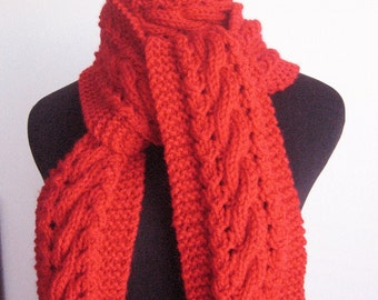 Scarlet Red Scarf, Cable and Lace Vegan Scarf, The Stef Scarf, Winter Accessories, Knit Red Scarf, Knit Scarf,  Winter Scarf