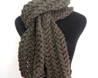 Knit Green Scarf Forest Green Lace Scarf ,Spring Fashion Scarf Hand Knit Scarf, Vegan Scarf Womens Scarf