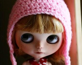 Gnome Helmet - Crochet Pixie Hat for Blythe - Petal Pink