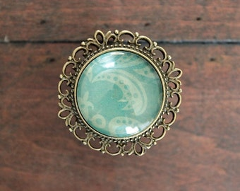 Brass Drawer Knobs Recollection Series Light Green and Turquoise Damask (MK127 09)