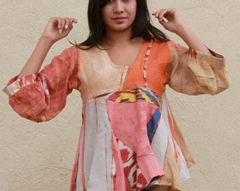 origami sculpted hand dyed linen pullover with ikat slices OOAK S M