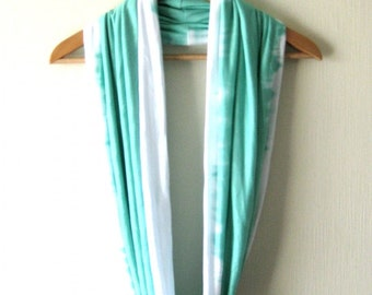 SALE - Mint Infinity Scarf - Delicate Summer Soft Jersey in Mint and white,  Circle Loop Scarf, Neckwarmer