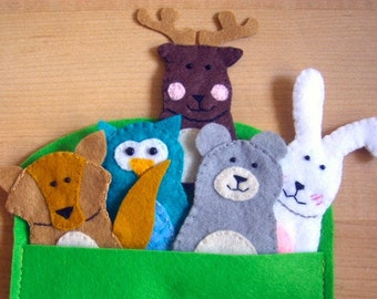 Forest animal finger felt puppets toy learning teaching