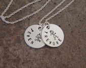 """Mom necklace - Family stick figure charms - New Parents - Tiny names - Petite 1/2"""" charm necklace - Personalized mom necklace"""