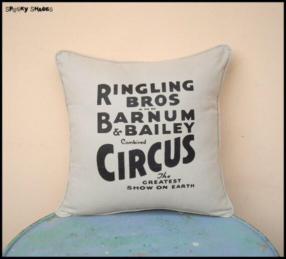 "Circus Sideshow beige 16"" x 16"" decorative throw pillow cover - typography pillow, bohemian decor, boho chic, circus pillow, burlesque decor"