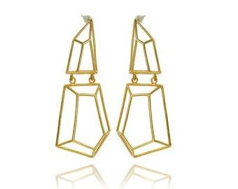14K Geometrci Earrings, Bridal Earrings, 14K Gold Earrings, Gifts for Her, Architecture 14K Yellow Gold Earrings, Fast Free Shipping