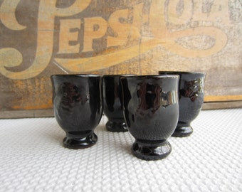 Vintage Small Black Pottery Cup Set of Four Japan