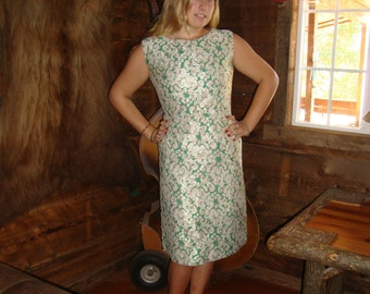 Vintage 1950's Green, White And Gold Lurex Brocade Holiday Sheath Dress - Matching Over Blouse - By R And K Originals - Size Medium /  Large